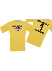 Man T-Shirt Island Ländershirt mit Ihrem Wunschnamen und Ihrer Wunschzahl, Fußball
