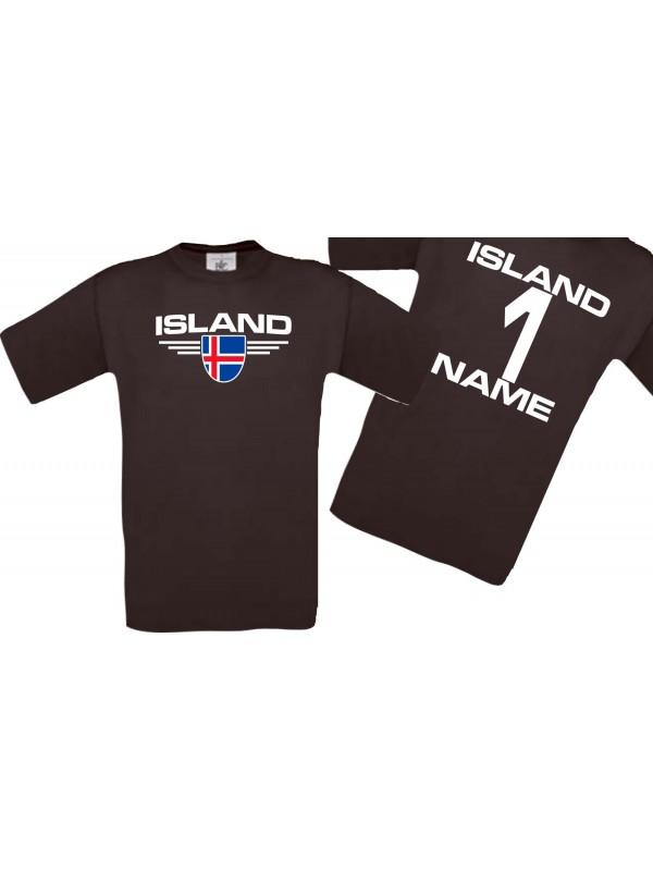 Man T-Shirt Island Wappen mit Wunschnamen und Wunschnummer, Land, Länder, braun, L