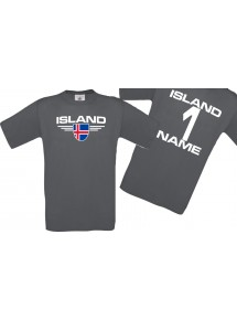 Man T-Shirt Island Wappen mit Wunschnamen und Wunschnummer, Land, Länder, grau, L