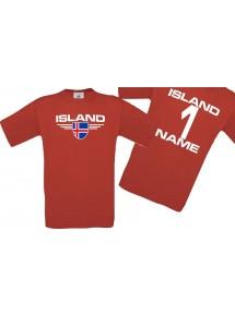 Man T-Shirt Island Wappen mit Wunschnamen und Wunschnummer, Land, Länder, rot, L