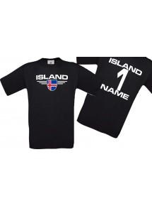 Man T-Shirt Island Wappen mit Wunschnamen und Wunschnummer, Land, Länder, schwarz, L