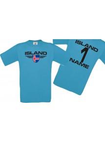 Man T-Shirt Island Wappen mit Wunschnamen und Wunschnummer, Land, Länder, türkis, L