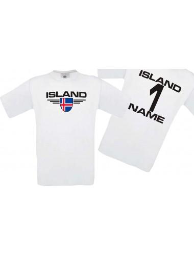 Man T-Shirt Island Wappen mit Wunschnamen und Wunschnummer, Land, Länder, weiss, L