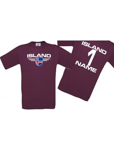 Man T-Shirt Island Wappen mit Wunschnamen und Wunschnummer, Land, Länder, burgundy, L