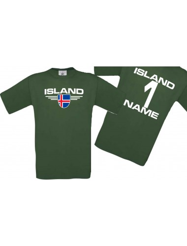 Man T-Shirt Island Wappen mit Wunschnamen und Wunschnummer, Land, Länder, gruen, L