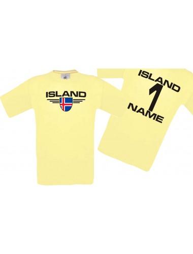 Man T-Shirt Island Wappen mit Wunschnamen und Wunschnummer, Land, Länder, hellgelb, L