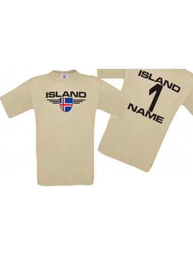 Man T-Shirt Island Wappen mit Wunschnamen und Wunschnummer, Land, Länder, khaki, L