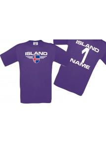 Man T-Shirt Island Wappen mit Wunschnamen und Wunschnummer, Land, Länder, lila, L