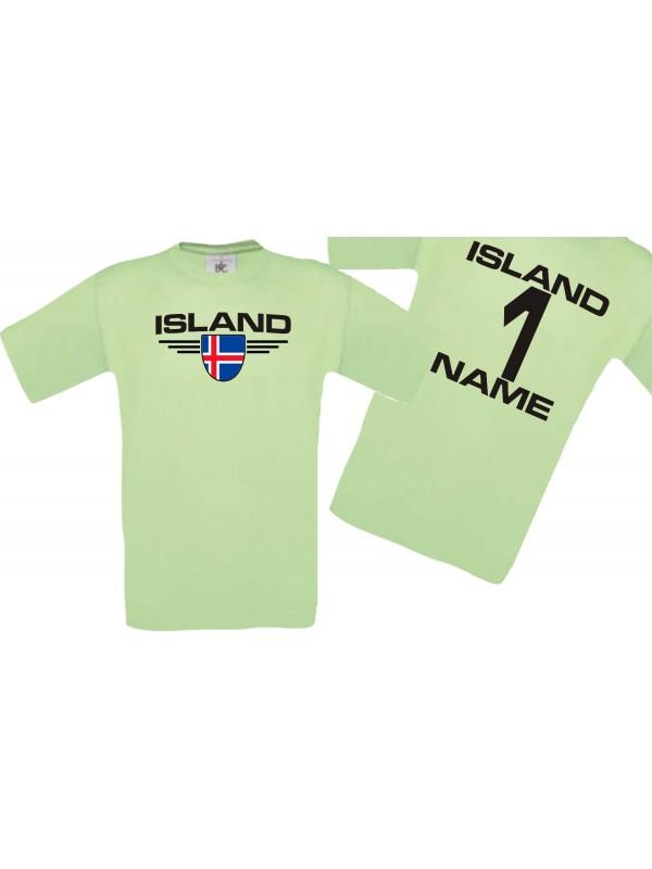 Man T-Shirt Island Wappen mit Wunschnamen und Wunschnummer, Land, Länder, mint, L
