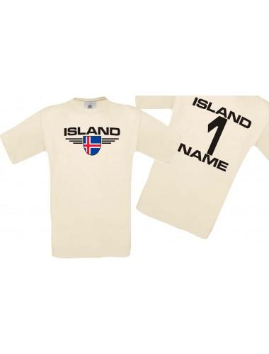 Man T-Shirt Island Wappen mit Wunschnamen und Wunschnummer, Land, Länder, natur, L