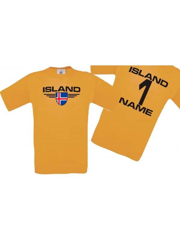 Man T-Shirt Island Wappen mit Wunschnamen und Wunschnummer, Land, Länder, orange, L