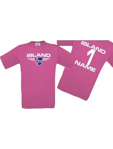 Man T-Shirt Island Wappen mit Wunschnamen und Wunschnummer, Land, Länder, pink, L
