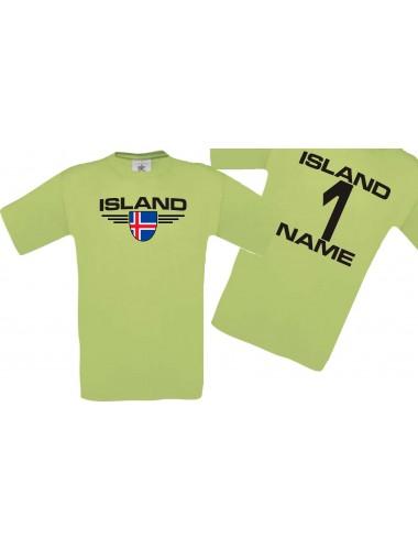 Man T-Shirt Island Wappen mit Wunschnamen und Wunschnummer, Land, Länder, pistas, L