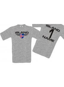 Man T-Shirt Island Wappen mit Wunschnamen und Wunschnummer, Land, Länder, sportsgrey, L