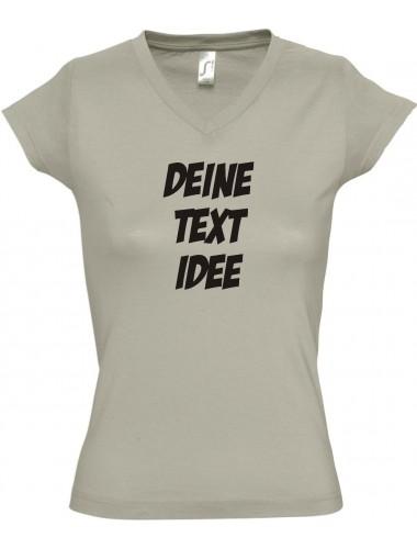 Ladyshirt mit V-Neck mit deinem Wunschtext oder Motive beddruckt