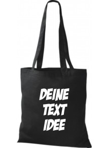 Jute Stoffbeutel mit Wunschtext oder Logo bedruckt, schwarz