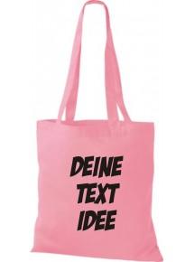 Jute Stoffbeutel mit Wunschtext oder Logo bedruckt, rosa