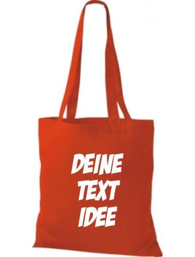 Jute Stoffbeutel mit Wunschtext oder Logo bedruckt, rot