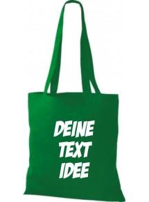 Jute Stoffbeutel mit Wunschtext oder Logo bedruckt, kelly