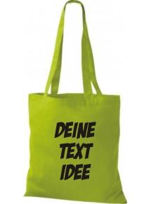 Jute Stoffbeutel mit Wunschtext oder Logo bedruckt, lime