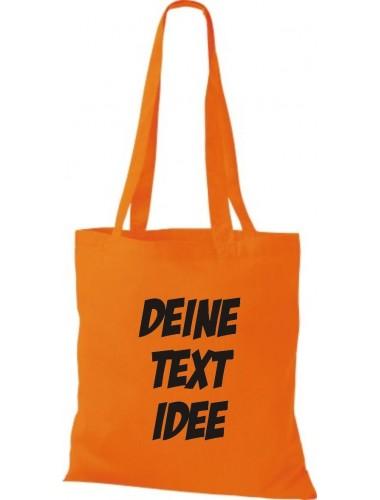 Jute Stoffbeutel mit Wunschtext oder Logo bedruckt, orange