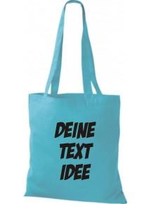 Jute Stoffbeutel mit Wunschtext oder Logo bedruckt, hellblau