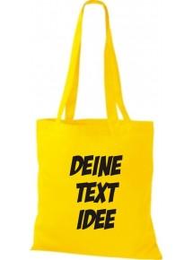 Jute Stoffbeutel mit Wunschtext oder Logo bedruckt, goldgelb