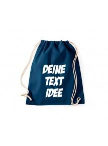 Turnbeutel Gymsack mit Wunsch Motive bedruckt, blau