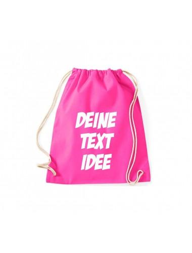 Turnbeutel Gymsack mit Wunsch Motive bedruckt, pink