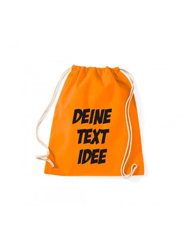 Turnbeutel Gymsack mit Wunsch Motive bedruckt, orange