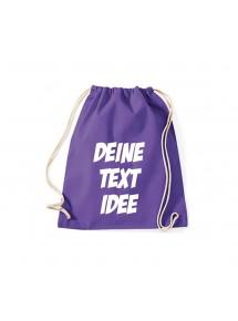 Turnbeutel Gymsack mit Wunsch Motive bedruckt, purple