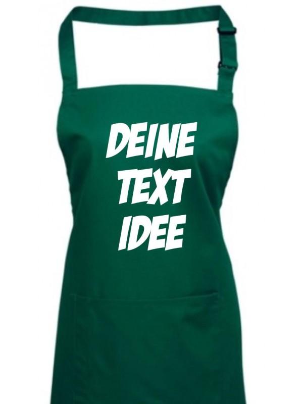 Back Koch Schürze, mit deinem Wunsch Text, Logo oder Motive bedruckt, bottlegreen