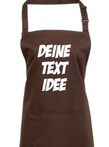 Back Koch Schürze, mit deinem Wunsch Text, Logo oder Motive bedruckt, braun