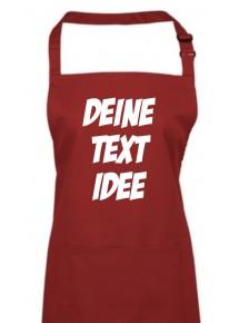 Back Koch Schürze, mit deinem Wunsch Text, Logo oder Motive bedruckt, burgundy