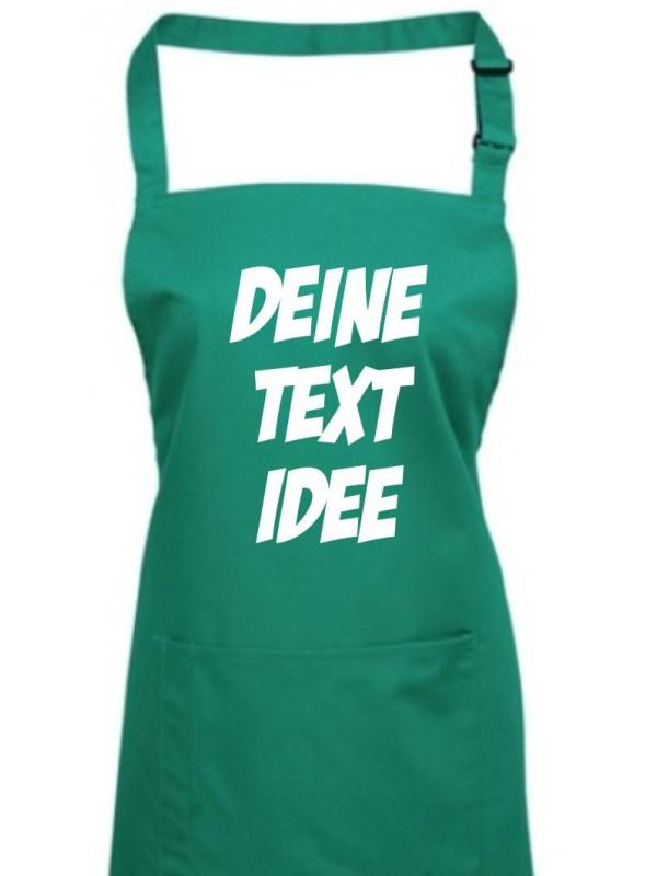 Back Koch Schürze, mit deinem Wunsch Text, Logo oder Motive bedruckt, emerald
