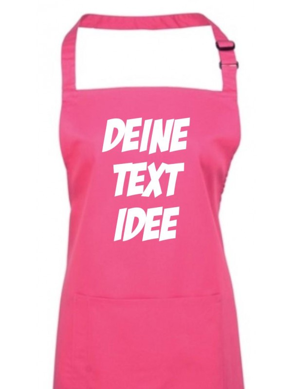 Back Koch Schürze, mit deinem Wunsch Text, Logo oder Motive bedruckt, hotpink