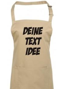Back Koch Schürze, mit deinem Wunsch Text, Logo oder Motive bedruckt, khaki