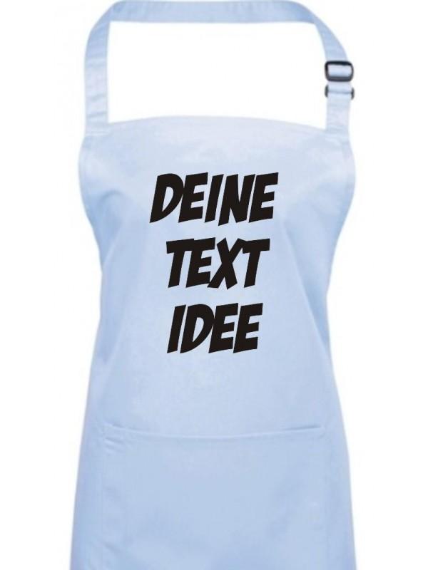 Back Koch Schürze, mit deinem Wunsch Text, Logo oder Motive bedruckt, lightblue