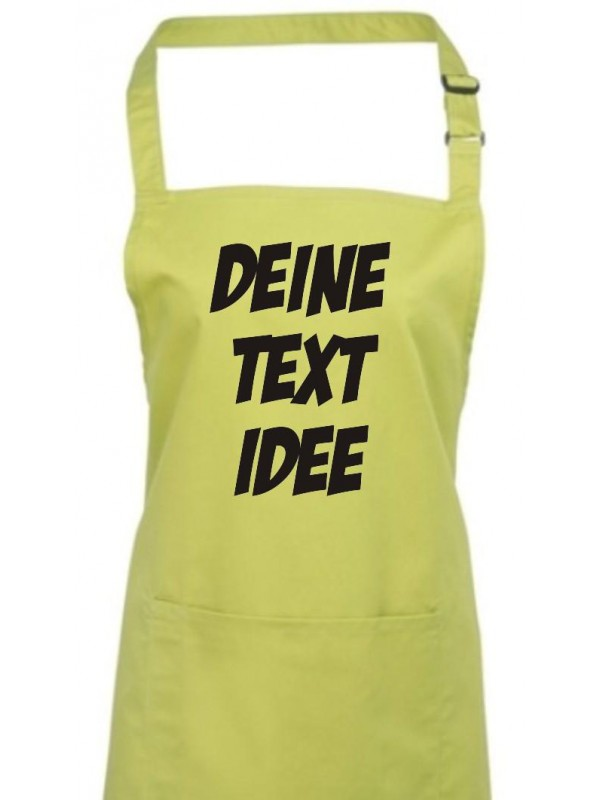 Back Koch Schürze, mit deinem Wunsch Text, Logo oder Motive bedruckt, lime