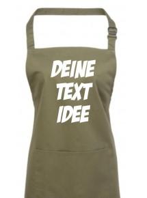Back Koch Schürze, mit deinem Wunsch Text, Logo oder Motive bedruckt, olive