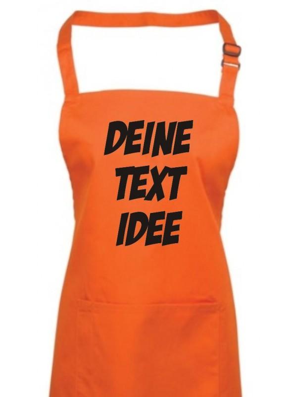 Back Koch Schürze, mit deinem Wunsch Text, Logo oder Motive bedruckt, orange