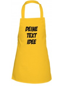 Kinder Latzschürze mit Ihrem Wunschtext Logo bedruckt, gelb
