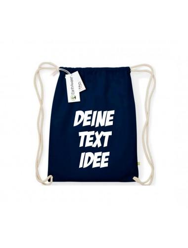 Organic Turnbeutel mit deinem Wunschtext bedruckt, blau