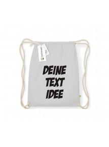 Organic Turnbeutel mit deinem Wunschtext bedruckt, hellgrau