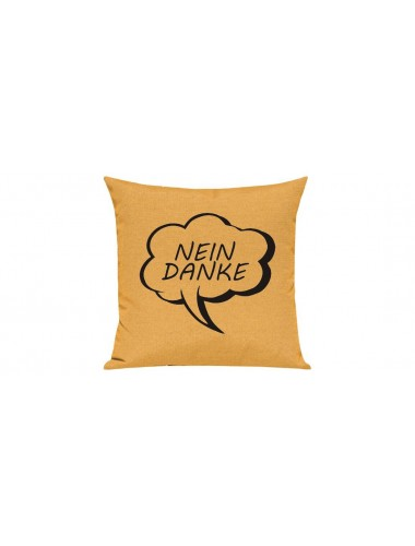 Sofa Kissen, Sprechblase Nein Danke, Farbe gelb
