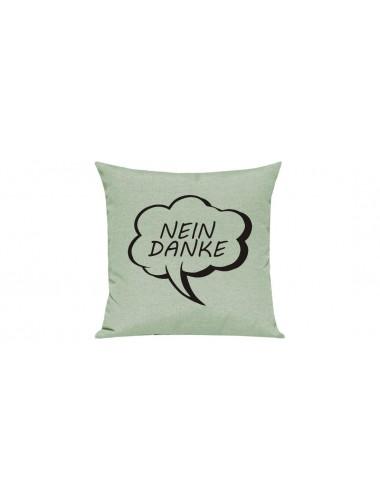 Sofa Kissen, Sprechblase Nein Danke, Farbe pastellgruen