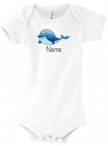 Baby Body mit tollen Motiven inkl Ihrem Wunschnamen Delfin