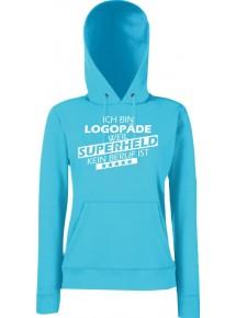 Lady Kapuzensweatshirt Ich bin Logopäde, weil Superheld kein Beruf ist, Größen XS-XXL