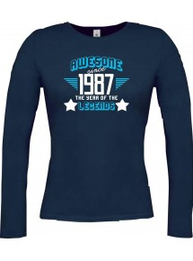 Lady-Longshirt Awesome since 1987 the Year of the Legends, blau, L