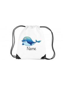 Gymsac Turnbeutel mit schönen Motiven inkl Ihrem Wunschnamen, Delfin